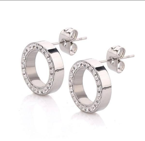 Обеци от стомана сребристи кръг с кристали на винт